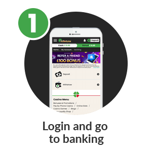 Step1 to deposit by phone bill in mFortune Pay by Phone Casino: Login and go to banking