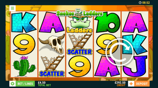 Playing Snakes Ladders online slots at mFortune online casino