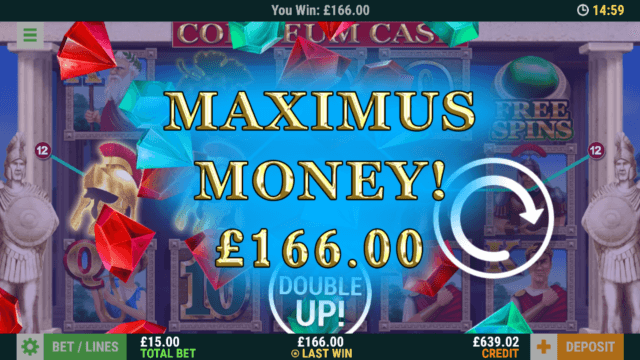 Big winning in Coliseum Cash online slots at mFortune online casino
