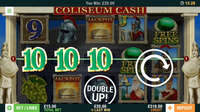 Winning in Coliseum Cash online slots at mFortune online casino