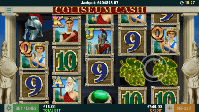 Playing Coliseum Cash online slots at mFortune online casino