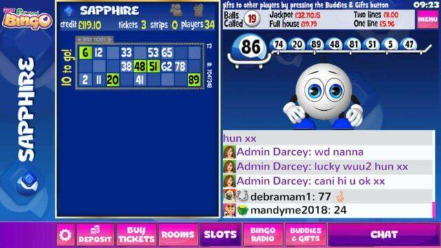 mFortune Bingo Sapphire mobile bingo room