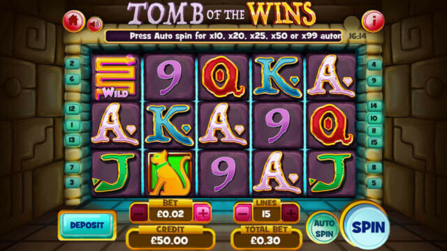 Tomb of the Wins mobile slots by mFortune Casino main reels screenshot