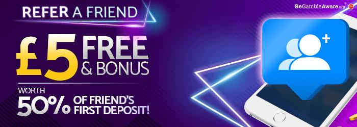 mfortune Casino Refer a friend bonus - £5 Free & Bonus - Worth 50% of friend's first deposit!