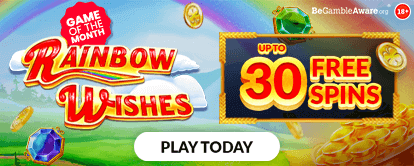 Rainbow wishes online slots - Up to 30 free spins - mFortune online casino's Game of the Month