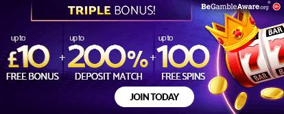 mfortune Casino Triple Bonus - Up to £10 Free Bonus + Up to 200% Deposit Match + Up to 100 Free Spins. Join Today!