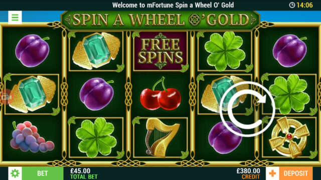 Playing Spin A Wheel O'Gold online slots in mFortune online casino