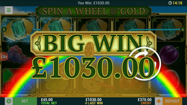 Big Win £1030 in Spin A Wheel O'Gold online slots