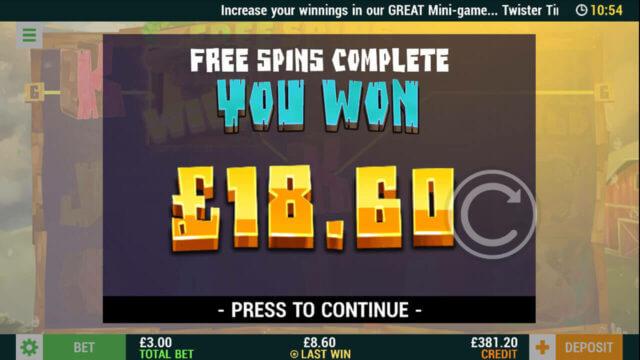 Twistin's Respins - Online Slot - In game screenshot - £18.60 wins - Mfortune