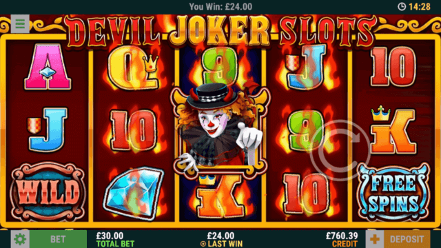 Trigger the Joker Symbols in Devil Joker Slots online slots - mFortune online casino