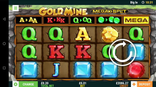 Playing Gold Mine online slots at mFortune online Casino