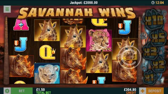 Savannah Win online slots at mFortune online casino