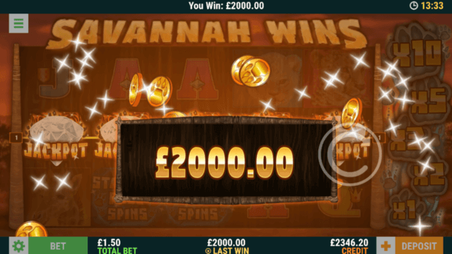Big Win in Savannah Win online slots