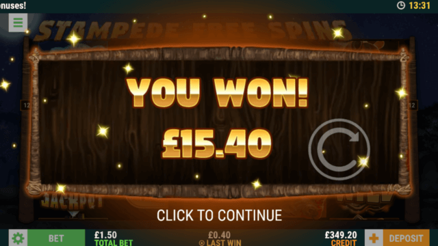 Winning 15.40 pounds in Savannah Win online slots