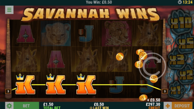 Winning in Savannah Win online slots