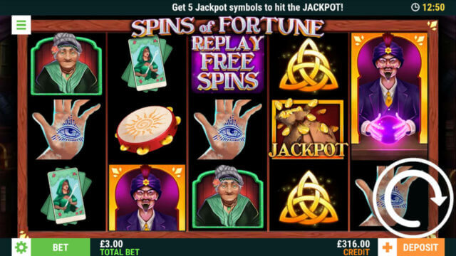 Spins of Fortune - Get 5 Jackpot symbols to hit the JACKPOT with total bet of £3