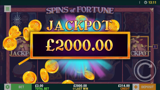 Spins of Fortune - In game Screenshot - Winning Jackpot of £2000