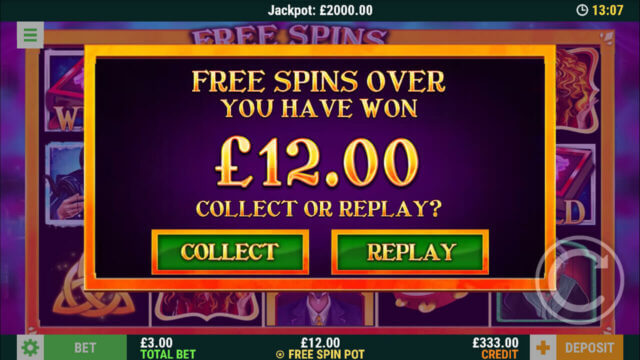 Spins of Fortune - Free spins over + £12 win