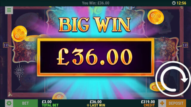 Spins of Fortune - In game Screenshot- Big Win £36