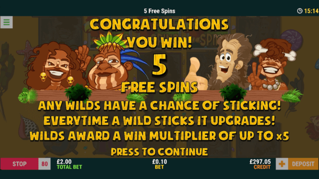 Robinson Riches - In game Screenshot - 5 Free Spins win