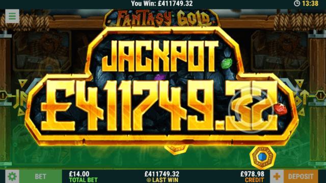 Win Jackpot in Fantasy Gold online slots at mFortune Casino