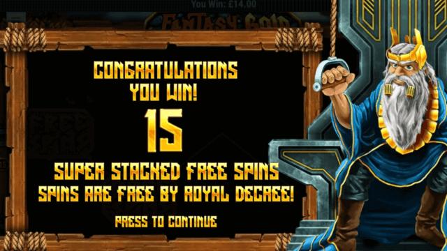 Winning 15 Free Spins in Fantasy Gold online slots at mFortune Casino