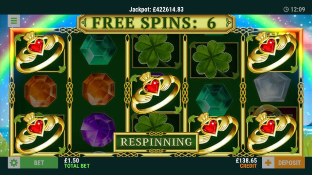 Free Spins feature screenshot in Rings O' Gold online slot