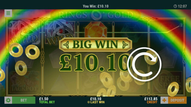 Big Win screenshot in Rings O' Gold online slots