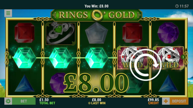 Rings O' Gold online slots in game winning screenshot