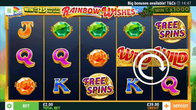Rainbow Wishes online slots' in game screenshot