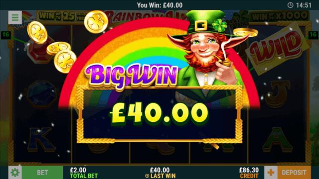 £40 Big Win in Rainbow Wishes online slots