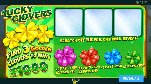 Lucky Clovers minigame in Rainbow Wishes online slots