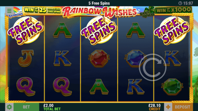 Winning 5 free spins with Free Spins symbol in Rainbow Wishes online slots
