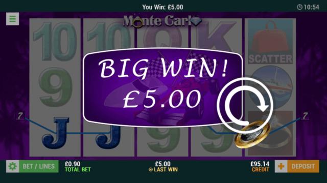 Monte Carlo - In game screenshot - Big Win £5
