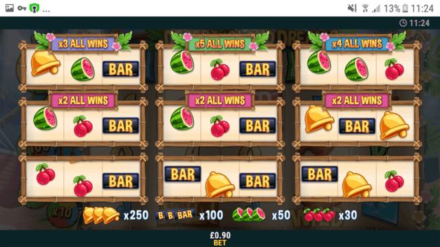 Desert Island Dreams online slots in game screenshot