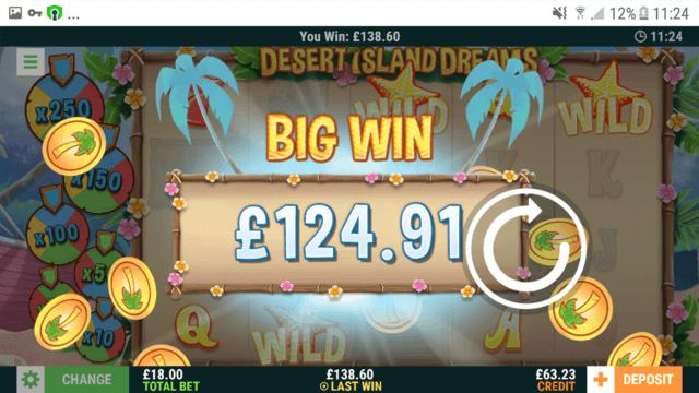 Big Wins screenshot in Desert Island Dreams online slots