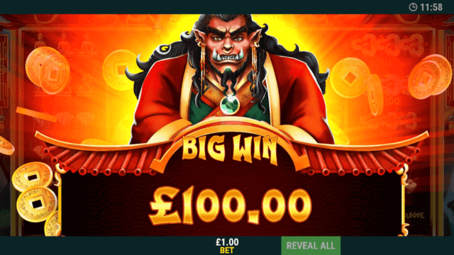Eastern Magic - In Game Screenshot - Big Win £100