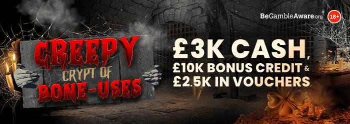 Creepy Crypt of Bone-uses - £3,000 Cash, £10,000 Bonus Credit & £2,500 in Vouchers - mFortune Halloween Campaign 2021